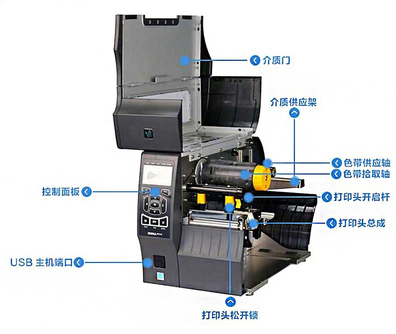斑马ZT410R固定资产RFID标签打印机内部展示